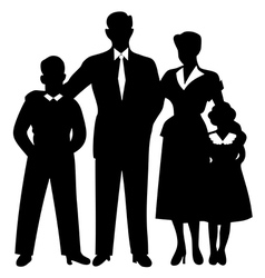 Family silhouette together cuddled vector