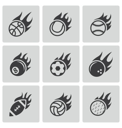 Black fire sport balls icons set vector