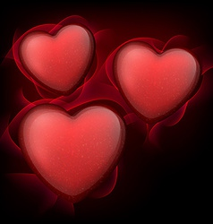 Classical red hearts with stars vector