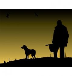 Hunter and dog vector