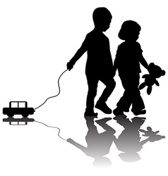 Pair of children with toy car vector