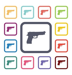 Gun flat icons set vector