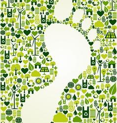Green foot print design vector