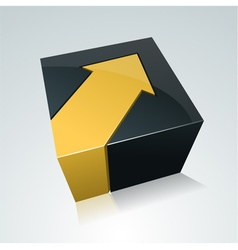 Cube with arrow vector