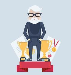 Old man winner in sport vector