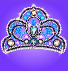 Tiara crown womens wedding with a blue vector