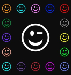 Winking face icon sign lots of colorful symbols vector
