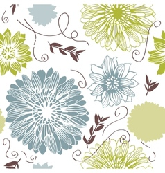 Background with hand drawn flowers seamless vector