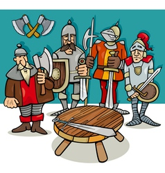 Knights of the round table cartoon vector
