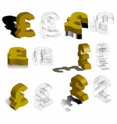 3d symbols pounds vector