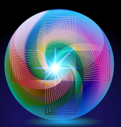 Abstract background ball glass with neon vector