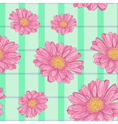 Floral seamless background with pink daisy eps10 vector
