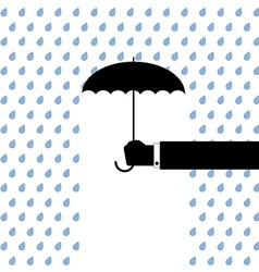Black umbrella protects from rain vector