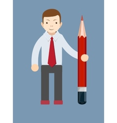 Businessman-teacher with a pencil to correct and vector