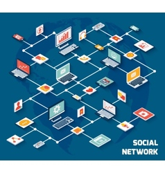 Social network isometric vector