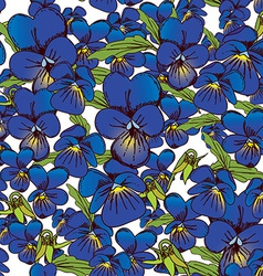 Flowers of pansies and leaves seamless blue vector