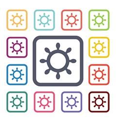 Sea wheel flat icons set vector