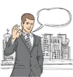 Happy businessman shows ok sketch vector