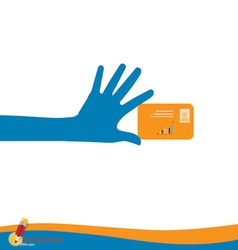Hand holding credit card vector