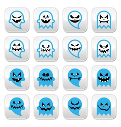Halloween scary ghost spirit buttons set vector