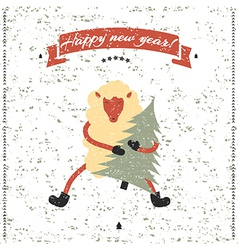 New year and christmas print funny sheep vector