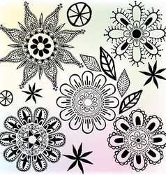 Funny flower ornaments vector