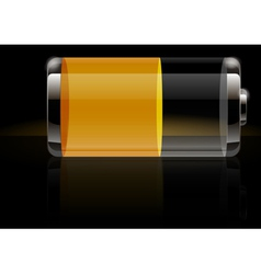 Glossy transparent battery icon yellow vector