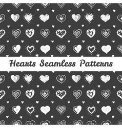 Black and white hand drawn hearts st valentine day vector