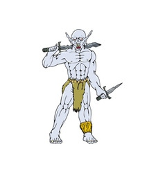Orc warrior sword dagger cartoon vector