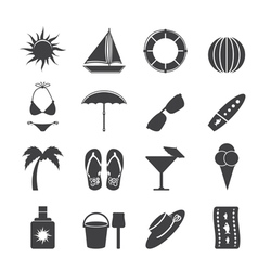 Summer and holiday icons vector