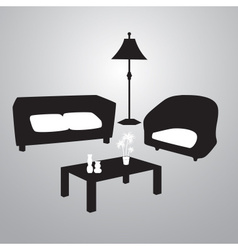 Living room black and white eps10 vector