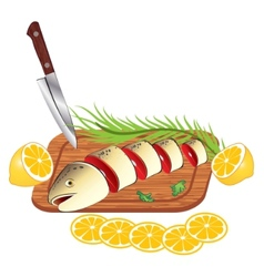 Cooking and cutting fresh fish vector