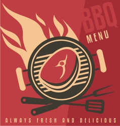 Grill cover menu template vector