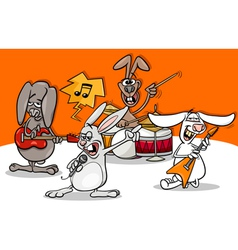 Rabbits rock music band cartoon vector
