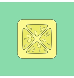 Lemon flat icon isolated on stylish color vector