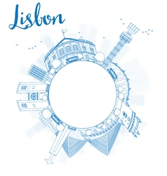 Outline lisbon city skyline with blue buildings vector