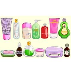 Collection of bath cosmetics vector