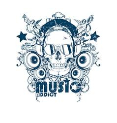 Skull with headphones vector