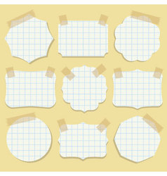 Note paper shapes with tape vector