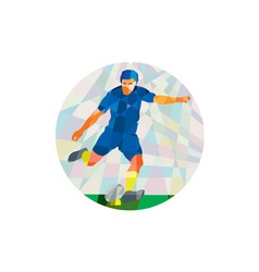 Rugby player kicking ball circle low polygon vector