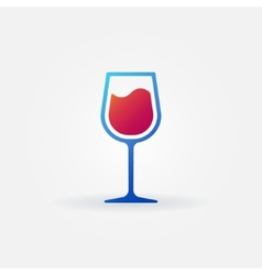 Blue glass of red wine icon vector