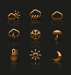 Golden weather icons set vector