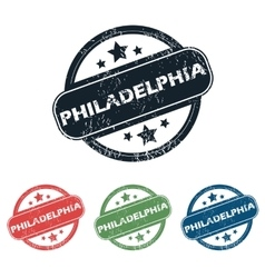 Round philadelphia city stamp set vector