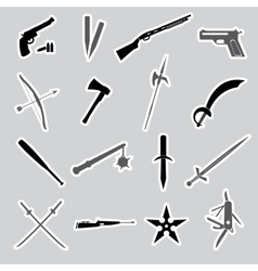 Weapons and guns stickers eps10 vector
