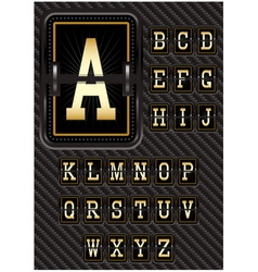 Alphabet in retro style on carbon background vector