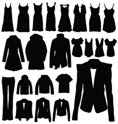 Clothing in black silhouette vector