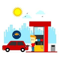 Man filling up gas tank vector