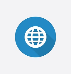 Globe flat blue simple icon with long shadow vector