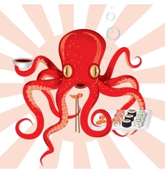 Japan octopus sushi feast vector
