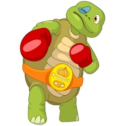 Funny turtle boxer vector